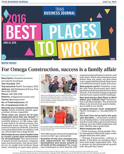 Omega Voted Finalist In Triad's Best Places to Work